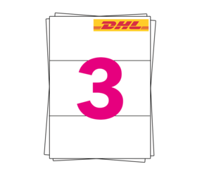 DHL Label on A4 Sheet Labels, 98.5mm x 210mm (4