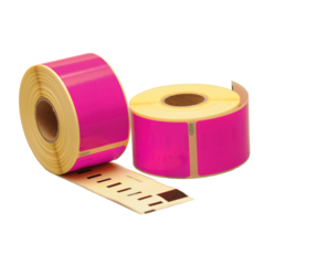Dymo 99012 compatible labels, 89mm x 36mm, 260 labels, pink, permanent