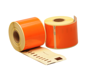 Dymo 99014 compatible labels, 101mm x 54mm, 220 labels, orange, permanent