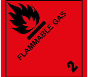 IATA 2.1 Flammable Gas Labels, 100mm x 100mm, 1000 Labels, 76mm Core