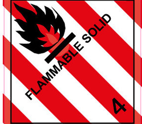 IATA 4.1 flammable solid label, 100mm x 100mm, 1.000 labels, core 76mm