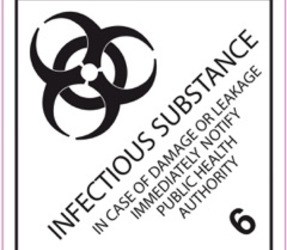 IATA 6.2 infectious substance label, 100mm x 100mm, 1.000 labels, core 76mm