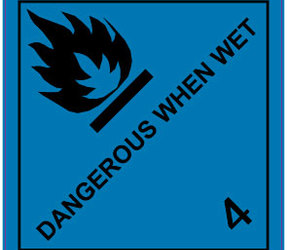 IMO 4.3 Dangerous When Wet, 100mm x 100mm, 1000 Labels, 76mm Core