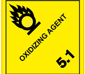 IMO 5.1 Oxidizing Agent Label, 100mm x 100mm, 1000 Labels, 76mm Core