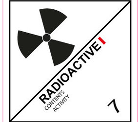 IMO 7.1 radioactive I label, 100mm x 100mm, 1.000 labels, core 76mm