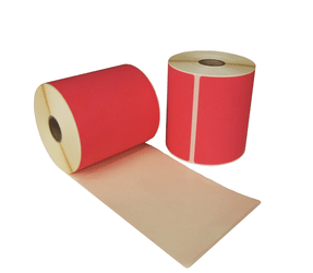 Thermal Shipping Labels, 102mm x 150mm, 280 labels, 25mm core, red, permanent