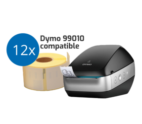 Wireless Starters Package: Dymo LW Wireless Black with Wi-Fi + 12 Free 99010 Compatible Label Rolls