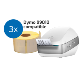 Wireless Starters Package: Dymo LW Wireless White + 12 Free 99010 Compatible Label Rolls